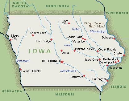 Iowa, kaart