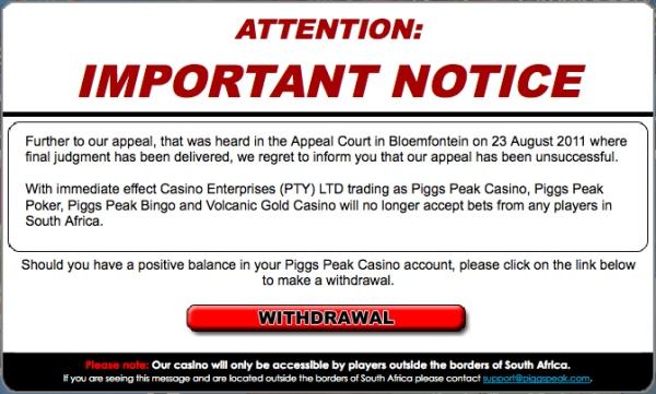 Het trieste nieuws voor Zuid-Afrikaans online casino spelers