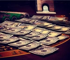 At the blackjack tables. #Killingit'