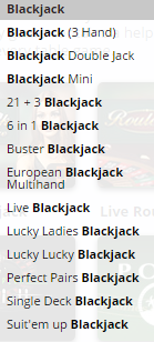 blackjack_variatiets