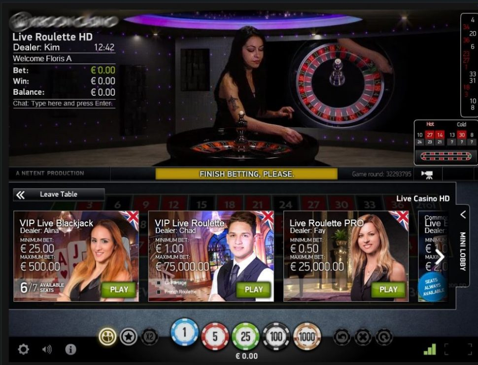 casino.nl NetEnt live roulette ingame
