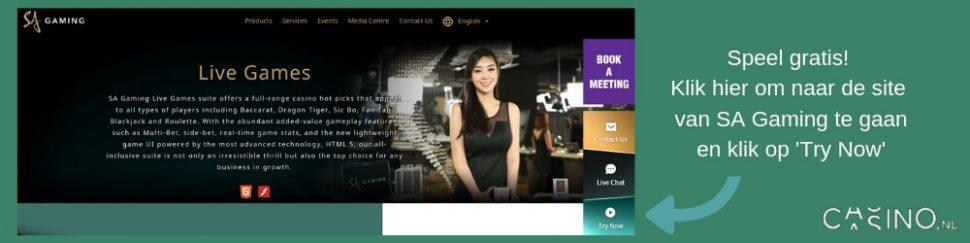 Speel gratis live casino spellen bij SA Gaming