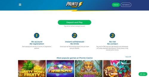 casino.nl review Pronto casino homepage screenshot