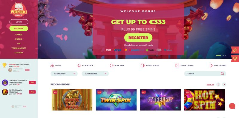 casino.nl review Maneki casino screenshot april 2020