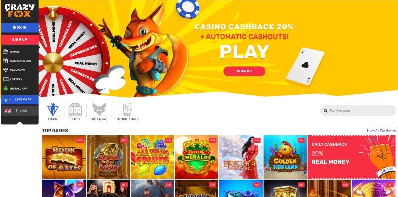 casino.nl review crazy fox casino homepage screenshot april 2020