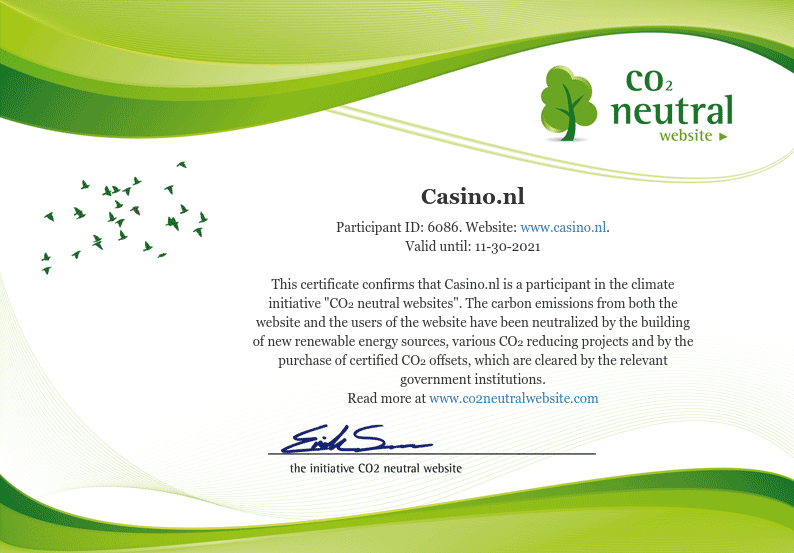 Casino.nl co2 neutraal certificaat